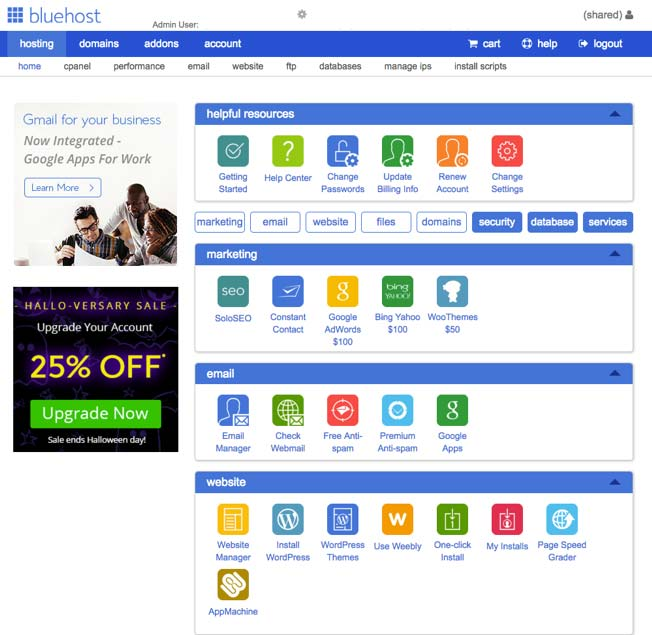 bluehost hosting cpanel