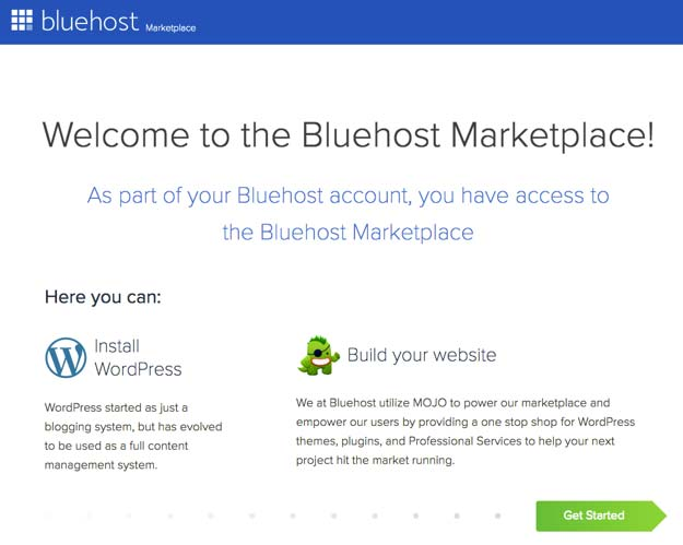 bluehost hosting welcome